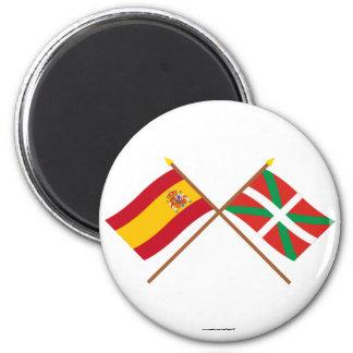 Drapeaux croisés de l'Espagne et du País Vasco (Eu Magnet Rond 8 Cm