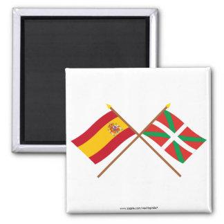 Drapeaux croisés de l'Espagne et du País Vasco (Eu Magnet Carré