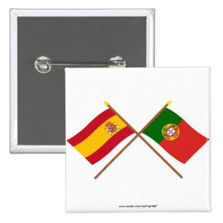Drapeaux croisés de l'Espagne et du Portugal Badge Carré 5 Cm