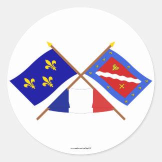 Drapeaux croisés de l'Île-De-France et de Sticker Rond