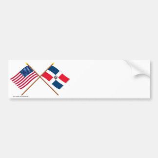 Drapeaux croisés des USA et de la République Autocollant Pour Voiture