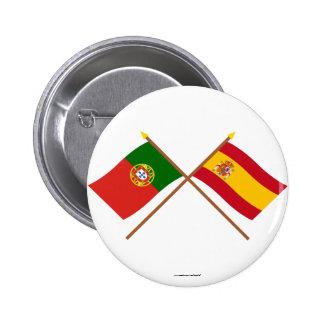 Drapeaux croisés du Portugal et de l'Espagne Badge Rond 5 Cm