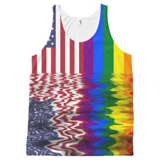 Drapeaux d'Américain et de gay pride Débardeur Tout-imprimé