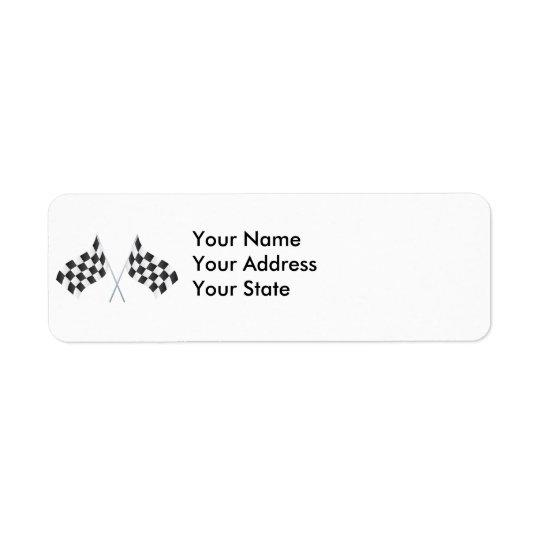 drapeaux de emballage checkered graphiques étiquette d'adresse retour
