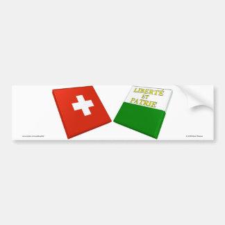 Drapeaux de la Suisse et du Vaud Adhésifs Pour Voiture