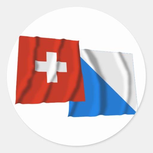 Drapeaux de ondulation de la Suisse et de Zurich Adhésif Rond