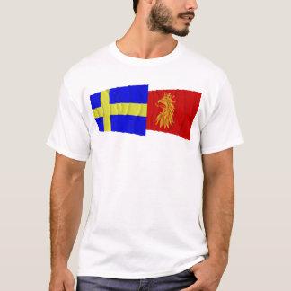 Drapeaux de ondulation de län de la Suède et du T-shirt