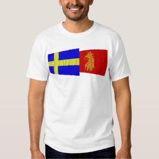 Drapeaux de ondulation de län de la Suède et du T-shirts