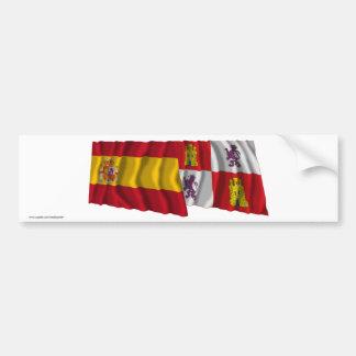 Drapeaux de ondulation de l'Espagne et de la Casti Autocollant De Voiture