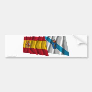 Drapeaux de ondulation de l'Espagne et de la Galic Autocollant Pour Voiture