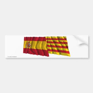 Drapeaux de ondulation de l'Espagne et du Cataluña Autocollant Pour Voiture