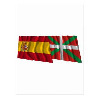 Drapeaux de ondulation de l'Espagne et du País Cartes Postales