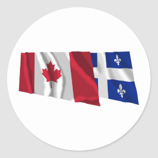 Drapeaux de ondulation du Canada et du Québec Autocollants Ronds