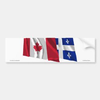 Drapeaux de ondulation du Canada et du Québec Autocollant De Voiture