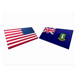 Drapeaux des USA et des Îles Vierges britanniques Cartes Postales