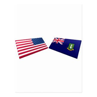 Drapeaux des USA et des Îles Vierges britanniques Carte Postale