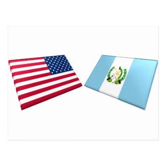 Drapeaux des USA et du Guatemala Carte Postale