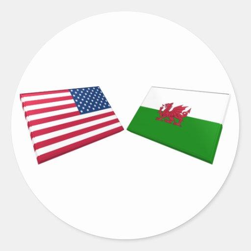 Drapeaux des USA et du Pays de Galles Adhésifs Ronds