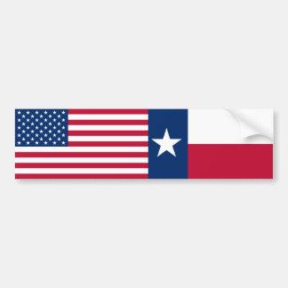 Drapeaux des USA et du Texas Autocollant De Voiture