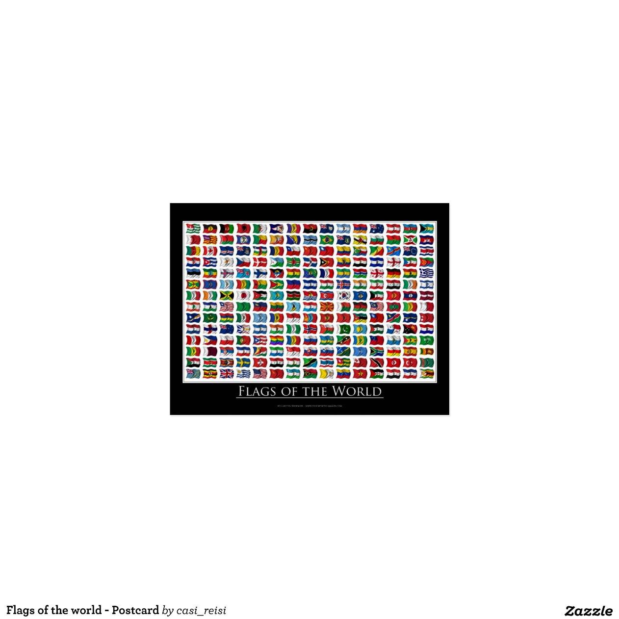 drapeaux du monde carte postale zazzle. Black Bedroom Furniture Sets. Home Design Ideas