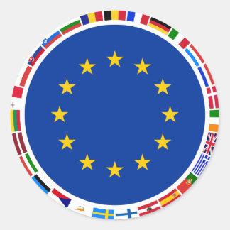 Drapeaux d'Union européenne Autocollant Rond