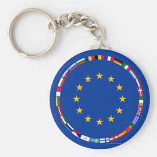 Drapeaux d'Union européenne Porte-clé Rond