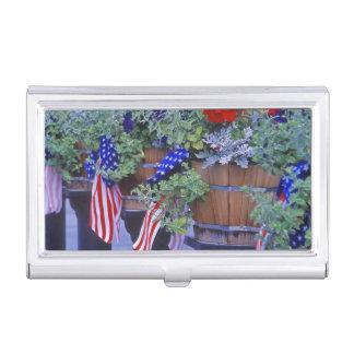 Drapeaux et fleurs dans Philipsburg Montana Boîtier Pour Cartes De Visite