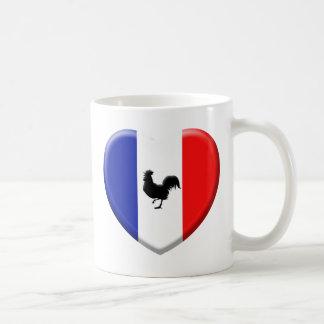 Drapeaux France love coq Mug Blanc