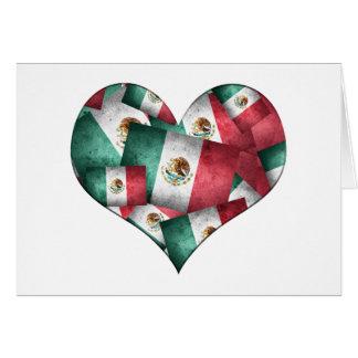 Drapeaux mexicains affligés - forme de coeur carte de vœux
