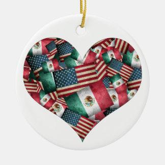 Drapeaux mexicains/américains affligés - forme de ornement rond en céramique