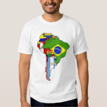 Drapeaux sud-américains de carte de drapeau de t-shirt