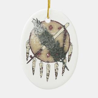 Dreamcatcher fané ornement ovale en céramique