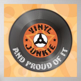 Drogué de vinyle - et fier de lui affiche orange