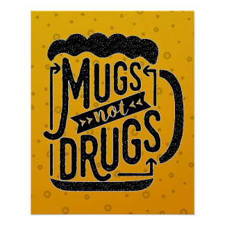 Drogues drôles potables de tasses de bière de affiches
