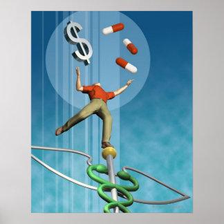 Drogues et symbole dollar de équilibrage d'homme poster
