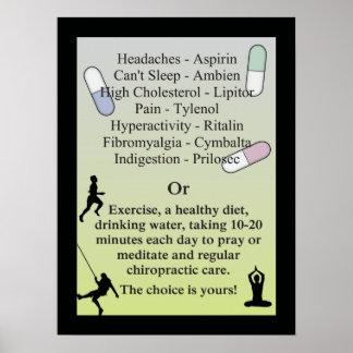 Drogues ou soin naturel de chiropractie affiches