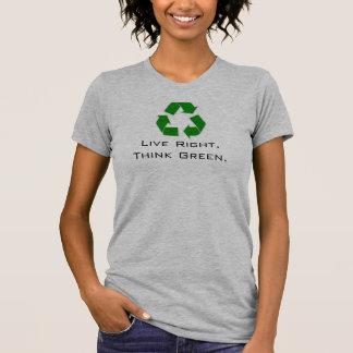 Droite vivante Pensez la chemise des femmes verte T-shirts