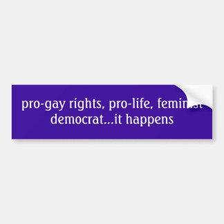 droites pro-gaies, démocrate contre l'avortement e autocollant pour voiture