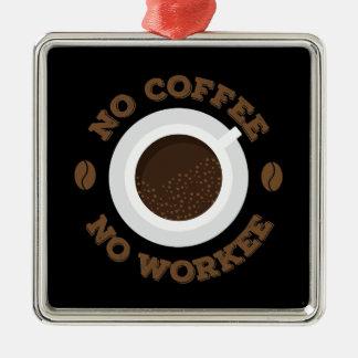 Drôle aucun café de matin aucuns amants de caféine ornement carré argenté