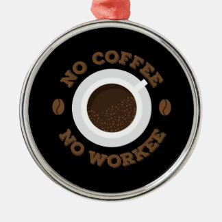 Drôle aucun café de matin aucuns amants de caféine ornement rond argenté