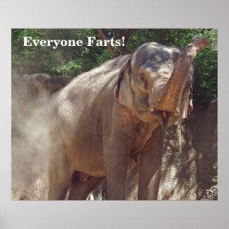 Drôle chacun pète ! Éléphant Poster