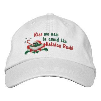 Drôle embrassez-moi maintenant grenouille casquette brodée