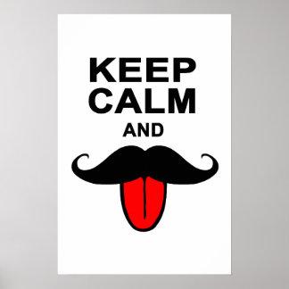 Drôle gardez le calme et la moustache affiches