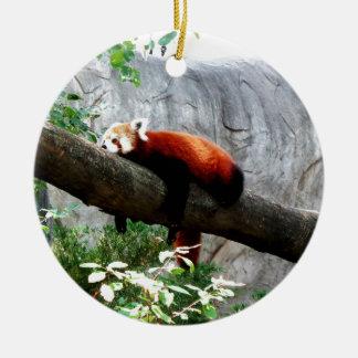 drôle paresseux animal adorable de panda rouge ornement rond en céramique