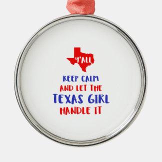 Drôle vous tee - shirt de fille du Texas Ornement Rond Argenté