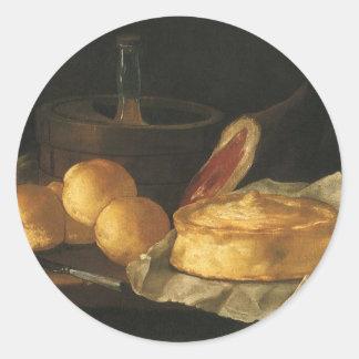 Du baroque toujours la vie vintage avec du pain, sticker rond