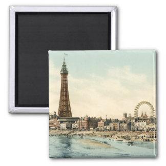 Du pilier central, Blackpool, Angleterre Magnet Carré