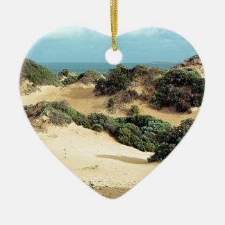 Dunes de sable balayées par le vent, Australie Ornement Cœur En Céramique