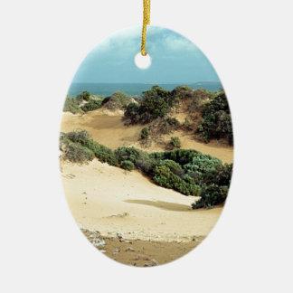 Dunes de sable balayées par le vent, Australie Ornement Ovale En Céramique