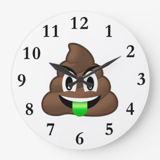 Dunette folle Emoji de langue verte Grande Horloge Ronde